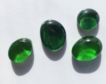 Bright Green Fused Glass Cabochons