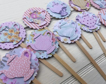 12 x Teapot Cupcake Toppers - Tea Party Cupcake Picks - Floral, Lilac, Peach, Mint