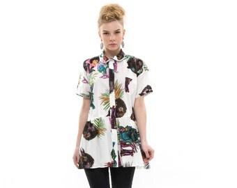 Monkey Peplum Shirt, Casual Button Down Shirt, Classic Cotton Collared Shirt, Trendy Womens Everyday Fashion Top, Versatile Blouse