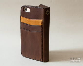 iPhone 7 Wallet, iPhone 7 Plus Wallet, iPhone 6, 6s, 6 Plus, 6s Plus Leather Wallet with Rear Pockets [Handmade] [Custom Colors]