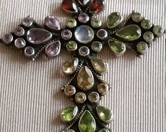 Vintage Sterling silver Huge Gemstone Cross