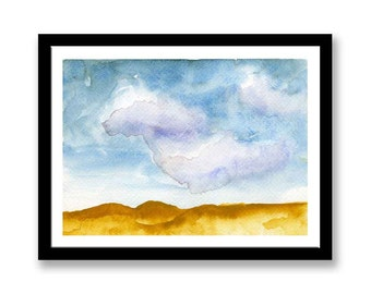 Original watercolor painting, Abstract sand dunes painting, day time painting, desk art, wall art, wedding gift, blue and yellow  desert art
