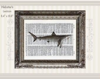 Shark on Vintage Upcycled Dictionary Art Print Book Art Print Recycled Repurposed Ocean beach art book lover gift salt water fish Chordata