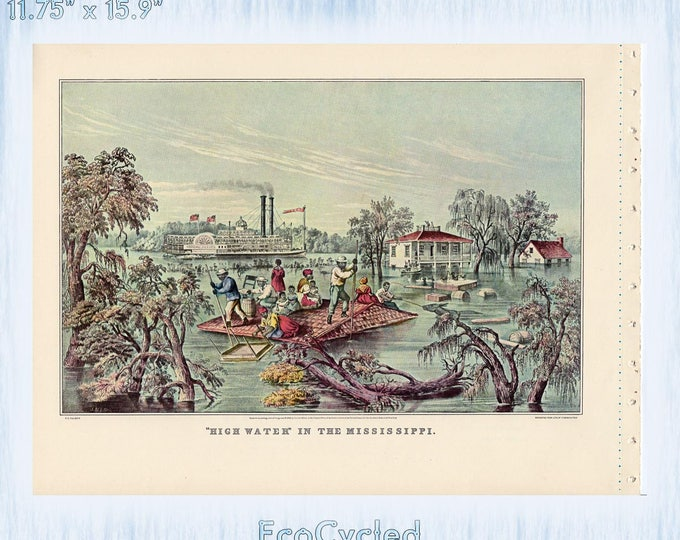 Americana Currier & Ives Vintage Lithograph Print High Water in the Mississippi Paper Ephemera Book Page ready to frame print zyx19