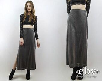 Metallic Maxi Skirt Silver Maxi Skirt 90s Skirt 90s Maxi Skirt Silver Skirt 1990s Skirt 90s Skirt Metallic Skirt Raver Skirt Rave Skirt M
