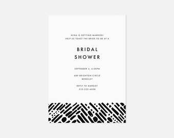 Minimalist Bridal Shower Invitation / Simple Modern Party Invite / Painterly Pattern / Black and White / Coed Baby Shower, Engagement Party