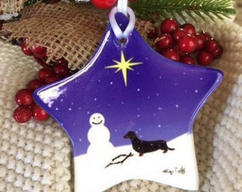 Black & Tan Dachshund Christmas Ceramic Ornament