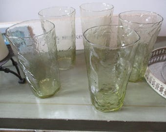 Set of Five Vintage Yellow Depression Glass Tumblers