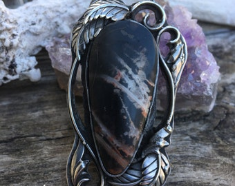 Pilbara Jasper Floral Sterling Silver Pendant Art Nouveau Bohemian Filligrie