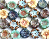 12pc Pansy flower beads MIX, Picasso Czech glass Flowers, 12mm Daisy, Rustic floral beads - 10pc - 2271