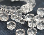 8x4mm Crystal Clear Rondelle beads, fire polished czech glass faceted spacers - 15Pc - 0975