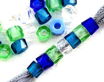 Pony beads mix, Blue Green Crystal Clear, spacers, Roller beads, hole 2mm, czech glass - 6mm - 25Pc - 0863