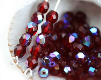 4mm Garnet Red Czech glass round beads, AB finish Fire polished faceted spacers - 50Pc - 0768