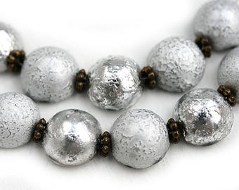 Silver Dome czech glass beads, silver beads mix, round, half sphere, 12x7mm - 10pc - 3002