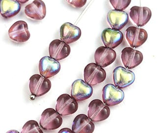 50pc Amethyst Purple Heart beads Mix, Czech Glass pressed beads, AB finish - 6mm - 3031