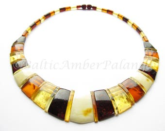 Luxury Baltic Amber Multicolor Choker CLEOPATRA