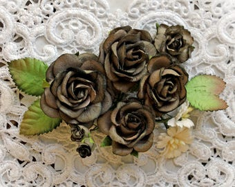Reneabouquets Roses And Leaves Flower Set-Mulberry Paper Flowers -Dark Olive Set Of 13 Pieces In Organza Storage Bag