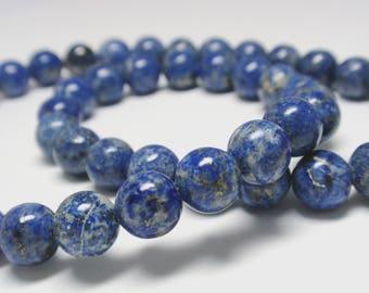 "Blue Denim Lapis Round Beads, 8mm Natural Gemstone Denim Lapis Beads, 14 1/2"" Strand - 48 Beads"