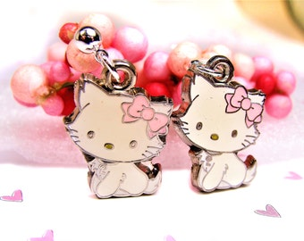 Cute Kitty Earrings with Pink Bows  kitty earrings, pink bows, gifts for her, gifts for tweens, valentines day