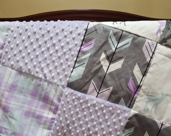 Fawn Patchwork Blanket- Fawn, Fletching Arrow, Plaid, Lilac Minky, and Gray Minky Patchwork Baby Blanket, Lilac, Mint, Gray
