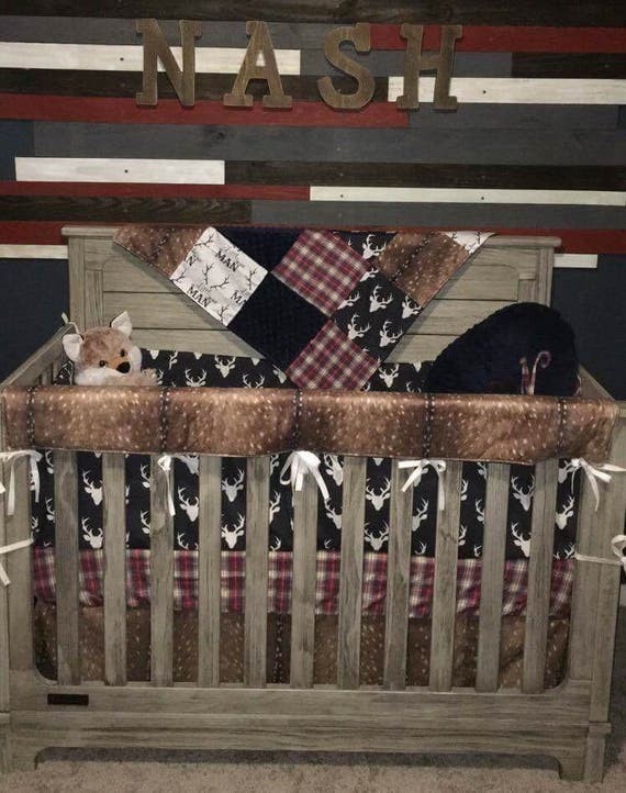 Crib Bedding Baby Boy Rooms: Baby Boy Crib Bedding Little Man Antlers Deer Skin Navy