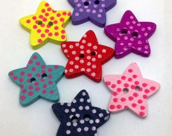Wooden Buttons - Stars - STR0001MX