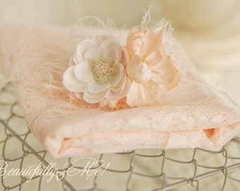 2 Piece set w Beautiful Peach or Cream Lace Wrap w Peachy headtie on mohair or stretch band 2 Item Set Color Choice Wrap 1st Photo Session