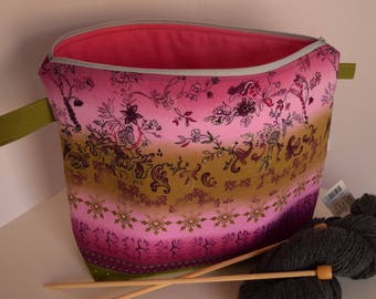 Green and Purple Floral Wedge Project Bag, knitting, crochet, spinning, sewing bag