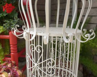 Vintage Wrought Iron Bird Cage Cream Painted Heavy Handmade Metal Birdcage 60s