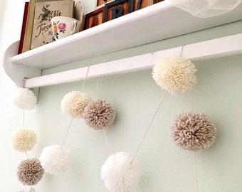 """Pom Pom Garland - Linen Ivory White - Yarn Pom Poms  2"""" - Baby - Bridal Shower - Garland - Birthday Wedding Ivory Pom Pom Decoration 10 Ft."""