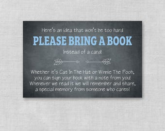 Printable Baby Shower Bring a Book Insert, Book Request Chalkboard Book Card, Bring a Book Instead of Card Insert