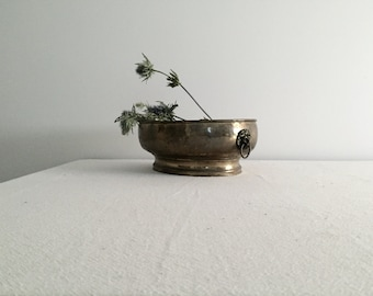RESERVED // Brass Planter with Lion Heads