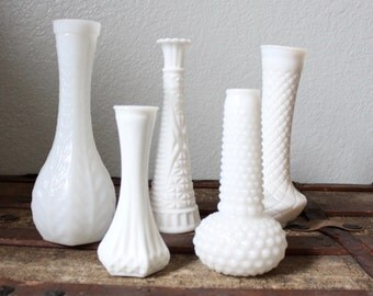 Vintage Milk Glass Vases, Instant Collection, Spring Decor, Wedding or Party