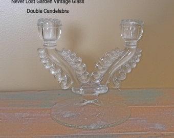Susquehanna Glass Double Candlestick Vintage
