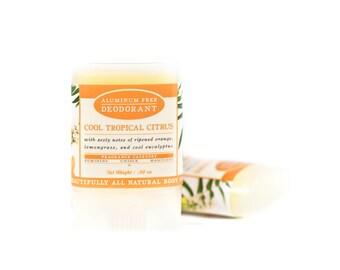 Cool Tropical Citrus Travel Size Deodorant - All Natural & Aluminum Free Deodorant - Unisex - Eucalyptus, Ripe Orange, Lemongrass