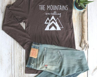 SALE, ADULT Unisex Long Sleeve Tee, Mountains Are Calling Shirt