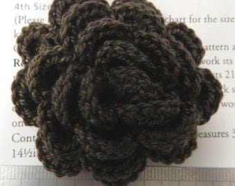 Irish crochet flower brooch in drab brown