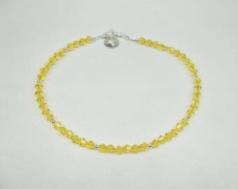 Yellow Crystal Anklet Yellow Ankle Bracelet Cross Anklet Yellow Anklet Sterling Silver Anklet Ankle Jewelry Beach Jewelry BuyAny3+Get1 Free