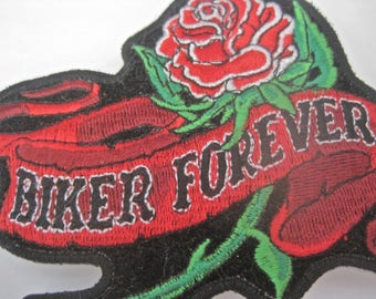 Biker Patch Womans BIKER FOREVER Red Roses Motorcycle Clothing Accessory Large Iron On High Quality Vintage Decoration for Vest Jacket Denim