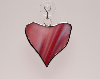 Abstract swirly red heart suncatcher ornament
