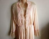 Vintage Nightgown & Peignoir Robe Set crystal pleat trim pale peach sexy 60's L