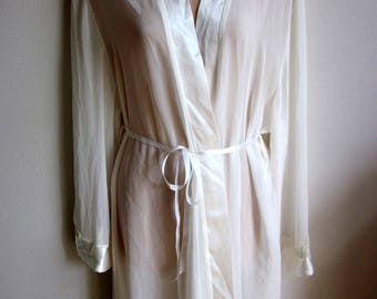SALE Robe  kimono style wrap silky satin bridal white dressing robe XL