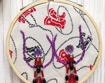 Ride 'em Cowgirl Burlesque Boob Embroidery- purple - black - red