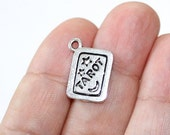 15% OFF - 6 Tarot Card Charms Antique Silver Tone - CH470