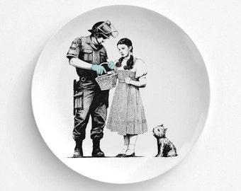 Banksy Dorothy Police Search Melamine Plate, Melamine Plate, Bansky Art, decorative plate, Dinner Plate, Serving Plate