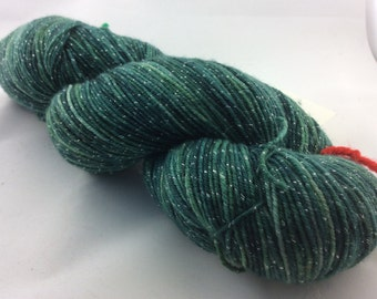 "Galaxy - ""Forest"" - Hearthside Fibers, fingering weight yarn, ""sparkles""."