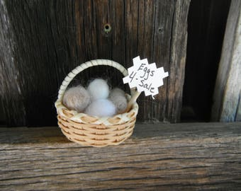 Miniature Basket of Needle Felted Farm Fresh Eggs - Eggs for Sale
