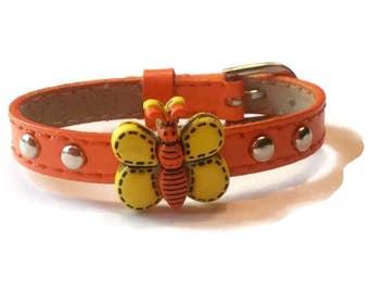 Children's Jewelry, Little Girls Bracelet, Orange Child's Butterfly Bracelet - Children Slide Charm Bracelet - Little Girl's Buckle Bracelet