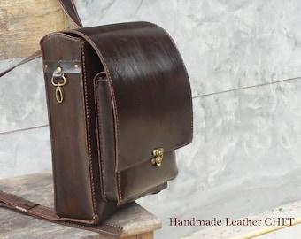 RANDOSERU Japanese style backpack for kids/ women/ men/ made of saddle leather dark brown