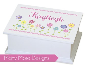 Personalized Jewelry Box - girls basic white jewelry box with name & design traditional ring holder great value boxes 1st Jewelry Box JEWET